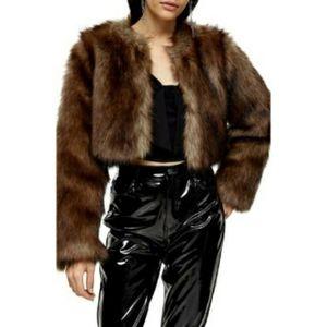 Topshop Chubby Faux Fur Crop Brown Coat
